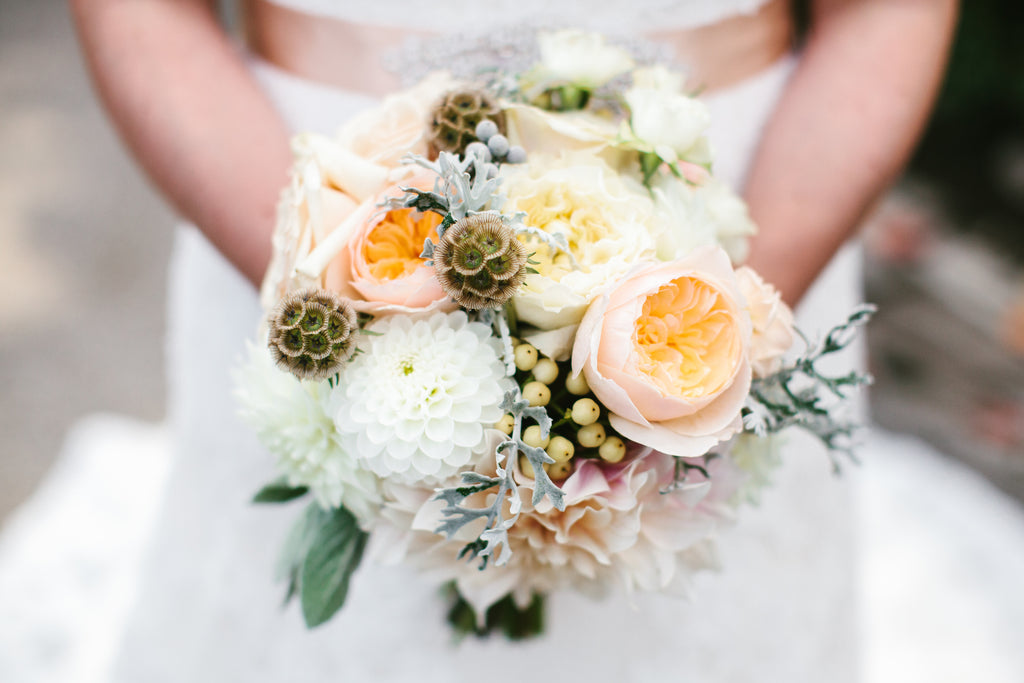 Pastel-colored bridal bouquet | A Chic Purple and Gold Pittsburgh Wedding