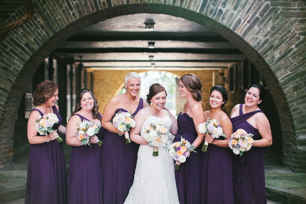 Long chiffon bridesmaid dresses in eggplant purple | A Chic Purple and Gold Pittsburgh Wedding