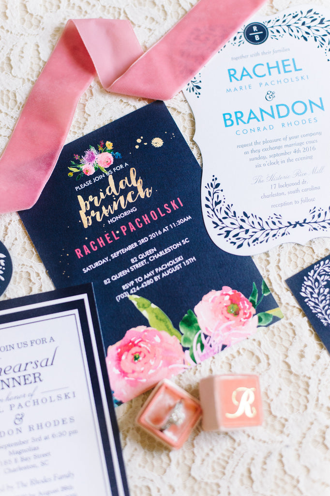 Styled navy and pink wedding stationary | Aaron & Jillian Photography | Stunning Wedding Photos to Inspire Your Big Day | Kennedy Blue