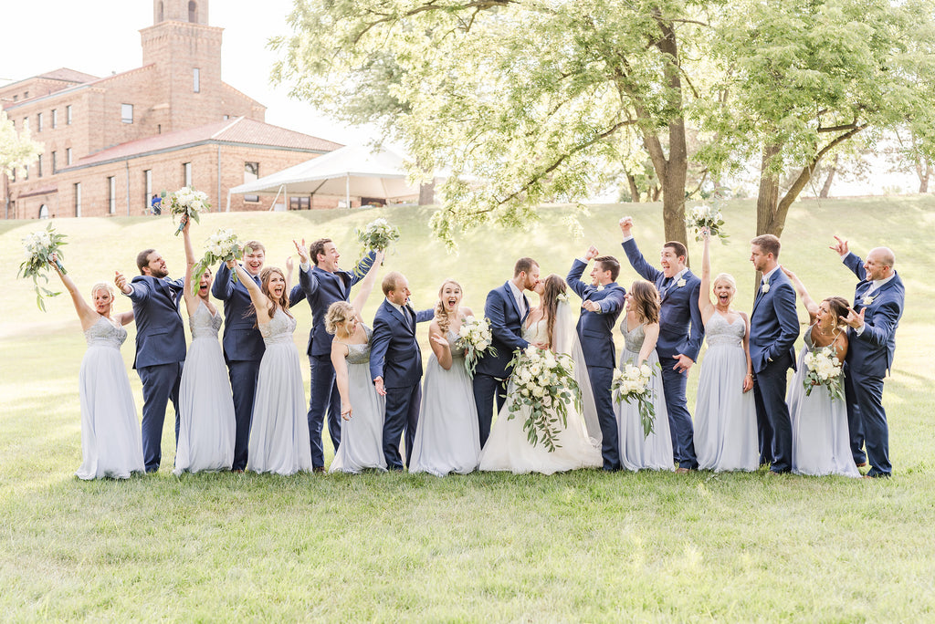Kennedy blue fog bridal party