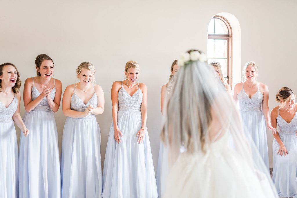 bridesmaid first look -cameron Kennedy blue