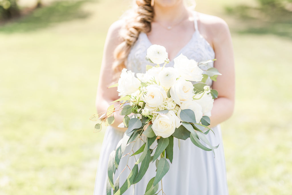 Kennedy blue bridesmaid - eucalyptus bouquet