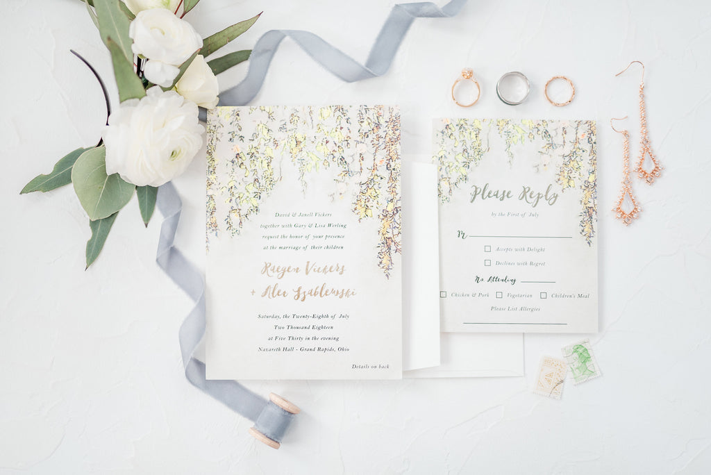 green and white wedding invites