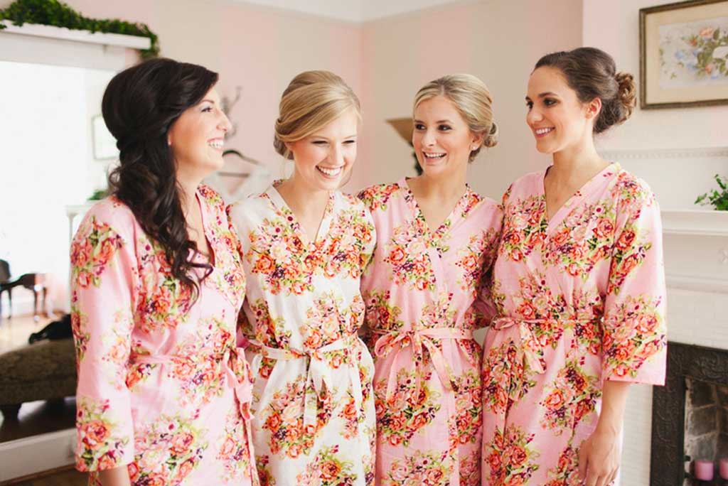 Floral silk bridesmaid robes from Silk and More