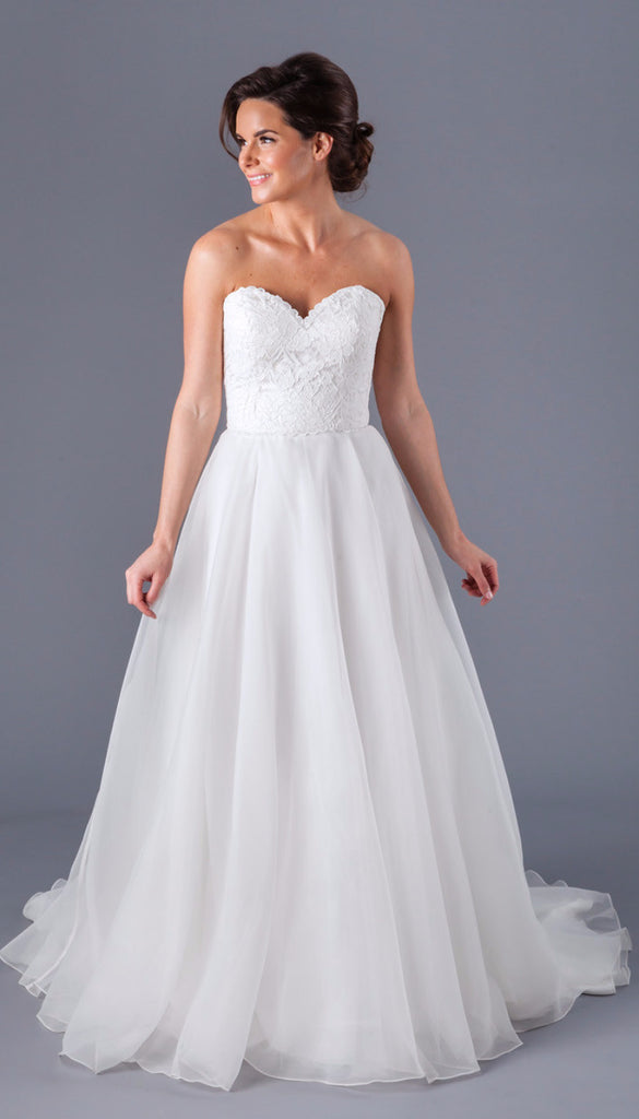 A Strapless Lace and Organza A-Line Wedding Dress | Affordable Bridal Gowns Under $1500 | Kennedy Blue