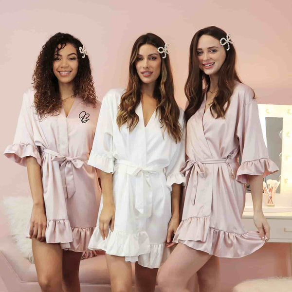 Ruffled Monogrammed Bridesmaid Robes