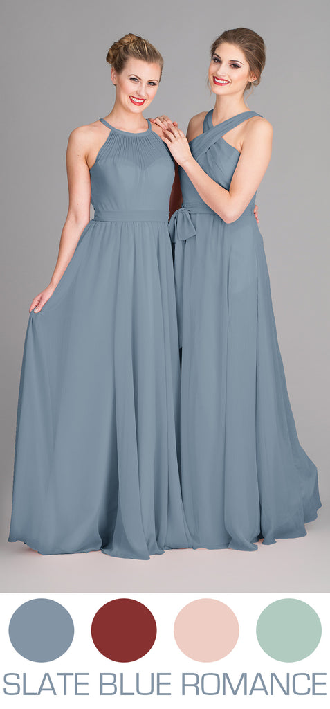 Slate Blue Bridesmaid Dresses for Spring or Summer wedding.