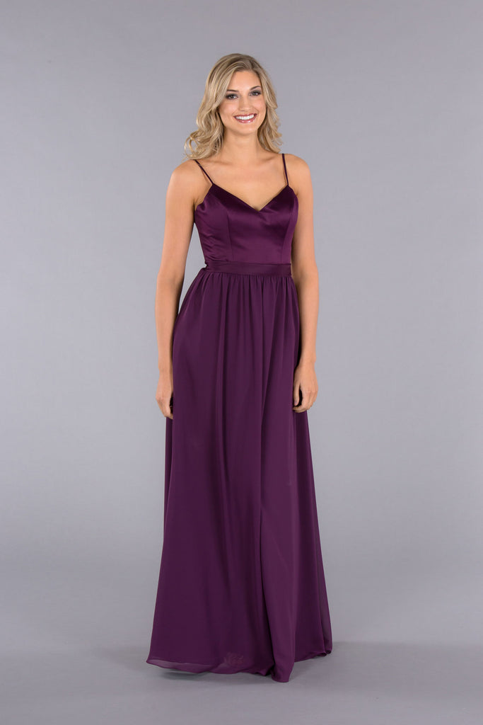 A Stunning Spaghetti-Strap, Satin-Top Bridesmaid Dresses