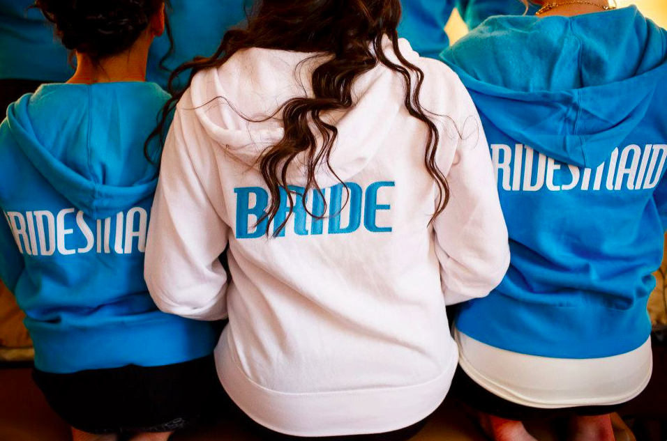 Matching bridesmaid sweatshirts! | 26 Photos To Take With Your 'Maids | Kennedy Blue | Bryan Stiegler Photography