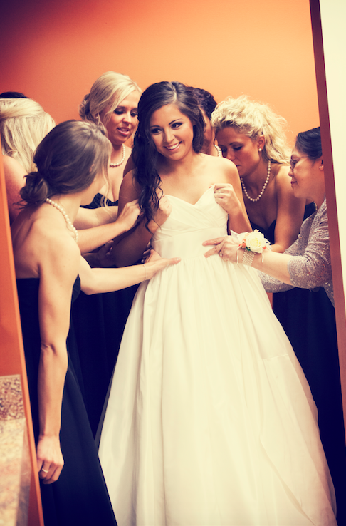 Bridesmaids helping the bride get ready! | 26 Photos To Take With Your 'Maids | Kennedy Blue | Bellagala Photography