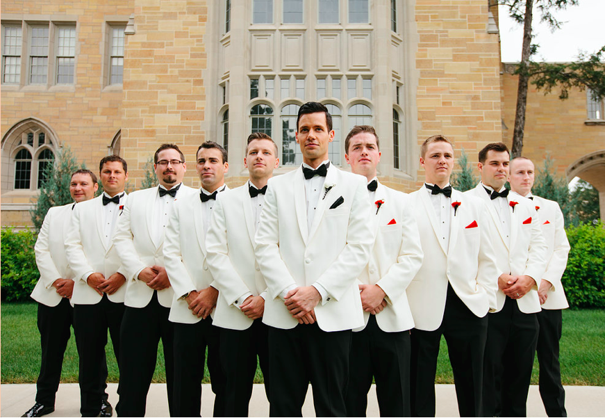 Handsome photo of the groom and groomsmen on the grooms wedding day! | 52 Best Wedding Photo Ideas | Kennedy Blue | Scott and Hannah Photography
