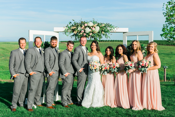 This country wedding with blush pink bridesmaid dresses is so cute! | An Elegant, Blush Pink, Rustic Wedding | Kennedy Blue |