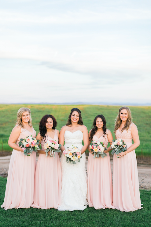 We love these blush pink Kennedy Blue Brooke bridesmaid dresses! | An Elegant, Blush Pink, Rustic Wedding | Kennedy Blue | Catherine Leanne Photography