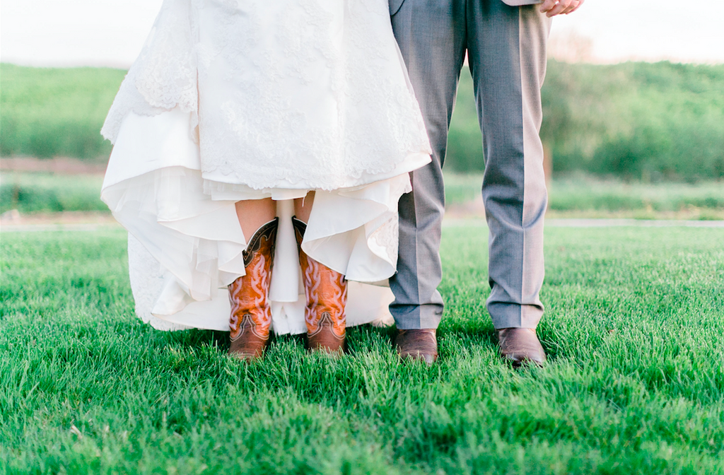Cowboy boots are such a cute addition to a country wedding! | An Elegant, Blush Pink, Rustic Wedding | Kennedy Blue | Catherine Leanne Photography