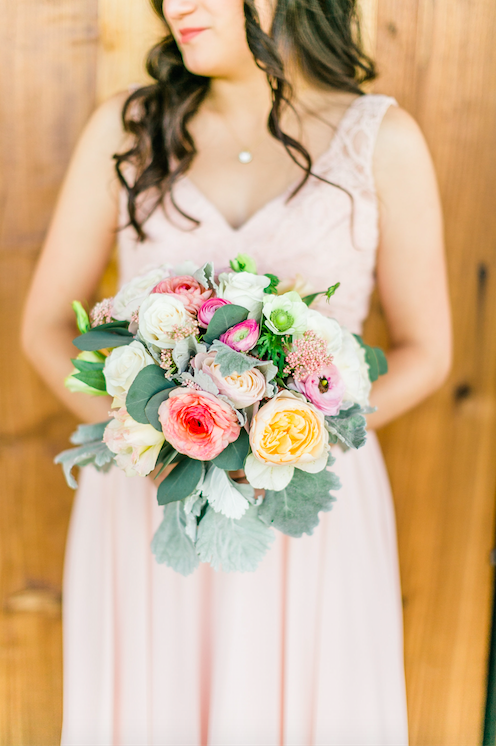 Beautiful photo of the bride and her bouquet! | An Elegant, Blush Pink, Rustic Wedding | Kennedy Blue | Catherine Leanne Photography