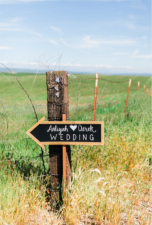Wooden sign pointing to the wedding with gorgeous landscape! | An Elegant, Blush Pink, Rustic Wedding | Kennedy Blue | Catherine Leanne Photography