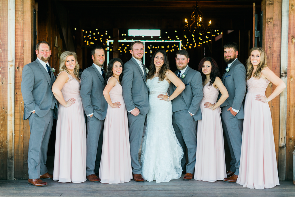 Blush pink and dark grey wedding party! | An Elegant, Blush Pink, Rustic Wedding | Kennedy Blue | Catherine Leanne Photography