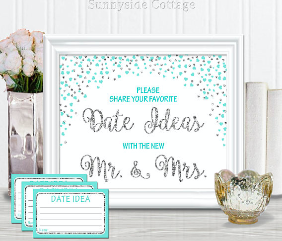 These 'cute date ideas' cards are such a cute bridal shower activity! | 52 Awesome Bridal Shower Ideas | Kennedy Blue | SunnysideCottageArt