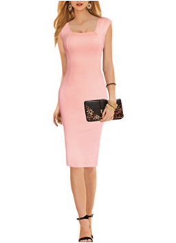 Such a gorgeous peach pencil dress! | 31 Dresses to Wear as a Wedding Guest | Kennedy Blue
