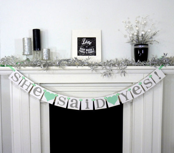'She said yes banner' is so cute for a bridal shower! | 52 Awesome Bridal Shower Ideas |