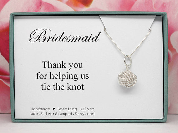 """Will you help us tie the knot?"" we love this bridesmaid necklace! 