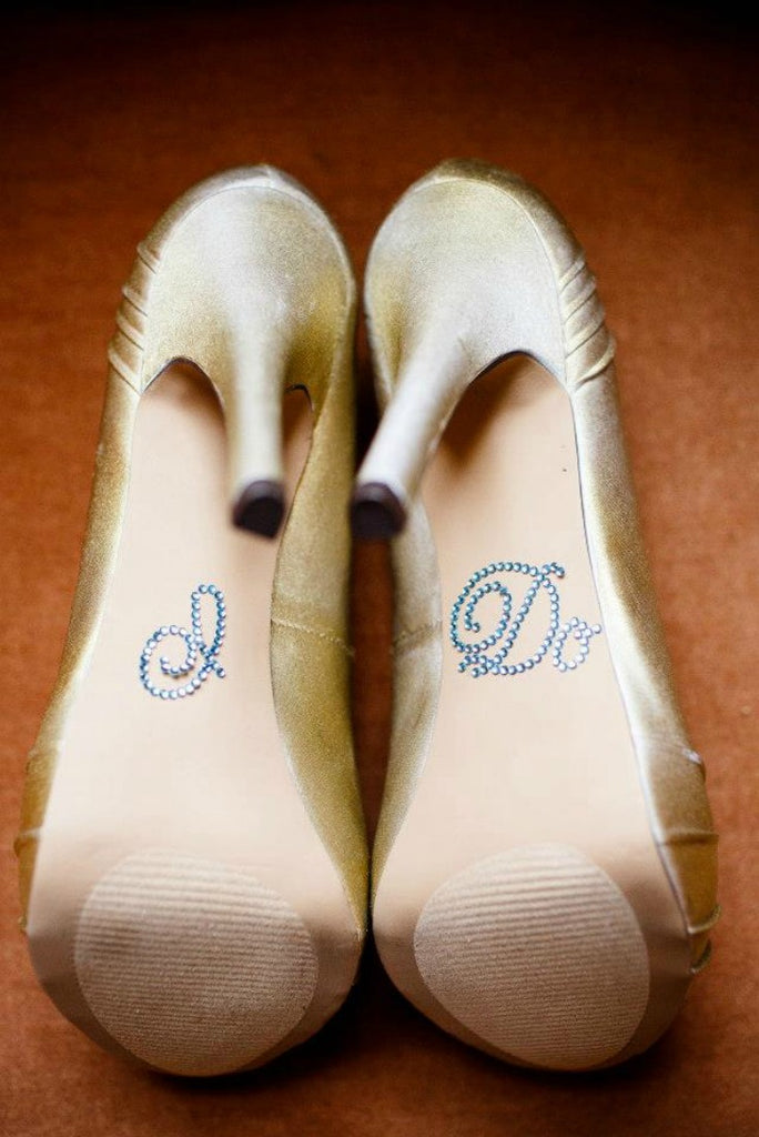 The perfect 'Something Blue' 'I DO' stickers for your wedding shoes!