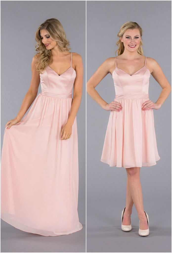 A Flirty Spaghetti Strap, Satin-Top Bridesmaid Dress, Available in Short & Long!