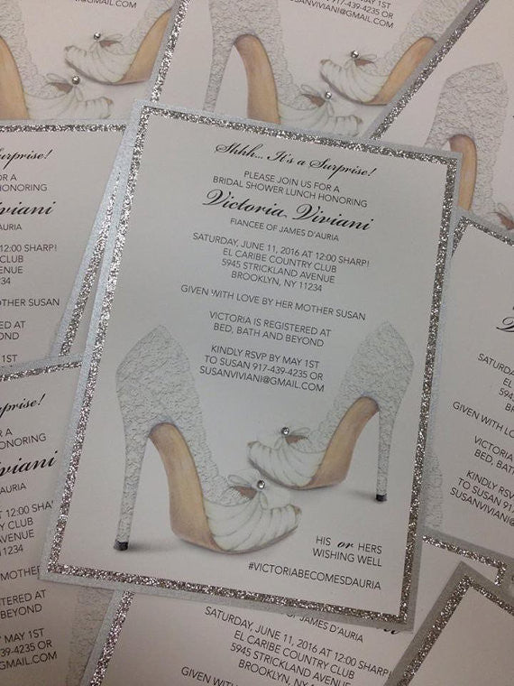 Such a cute sparkly shoe themed bridal shower invitation! | 52 Awesome Bridal Shower Ideas | Kennedy Blue | PlaceOfEvents