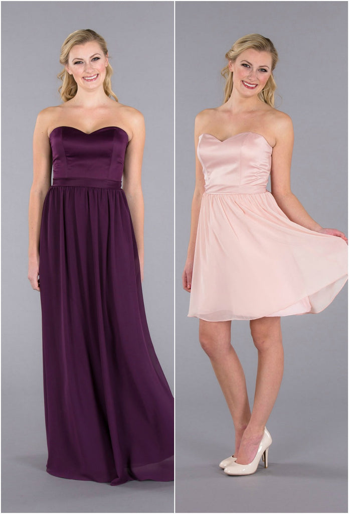 A fun strapless, satin-top bridesmaid dress available in short and long!
