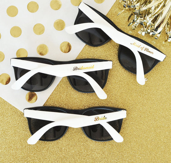 bride and bridesmaid sunglasses | bridesmaid gift ideas Kennedy blue