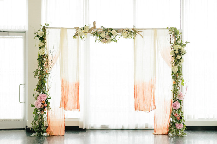 Ceremony backdrop and floral design by Thistle and Blooms | Floral Graffiti Inspiration at The Big Fake Wedding
