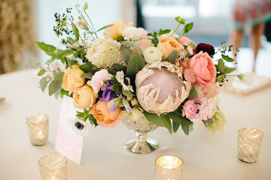 A stunning table centerpeice styled by Thistle and Blooms | Floral Graffiti Inspiration at The Big Fake Wedding