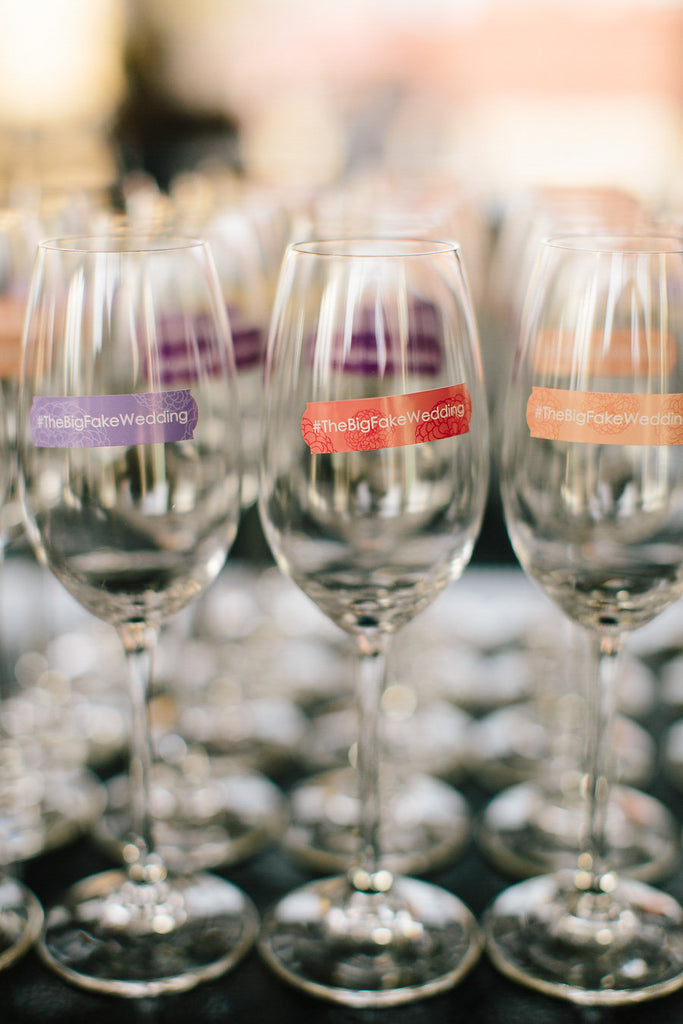 Personalized drink labels by Clingks | Floral Graffiti Inspiration at The Big Fake Wedding