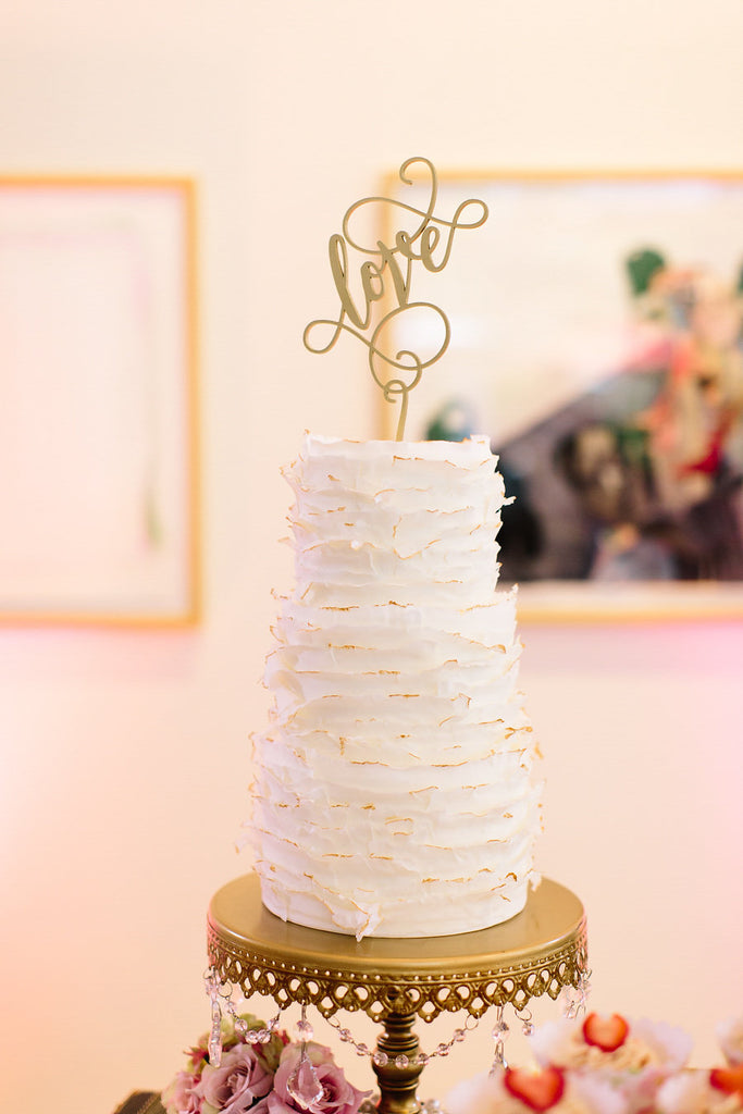 A simple and chic wedding cake by Enticing Icing | Floral Graffiti Inspiration at The Big Fake Wedding
