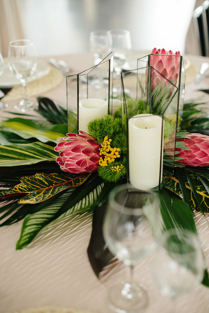 A leafy green wedding centerpeice | Floral Graffiti Inspiration at The Big Fake Wedding