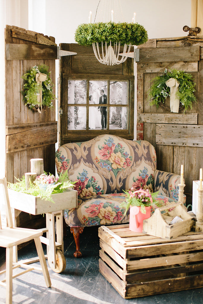 Vintage wedding rentals by All The Rage | Floral Graffiti Inspiration at The Big Fake Wedding
