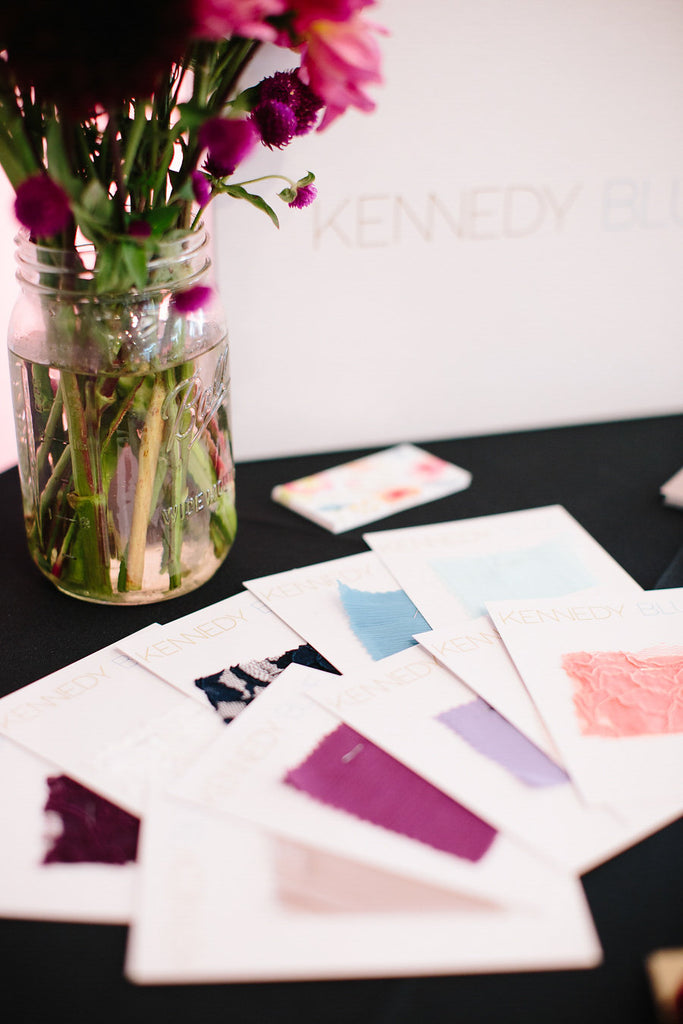 Kennedy Blue fabric swatches | Floral Graffiti Inspiration at The Big Fake Wedding
