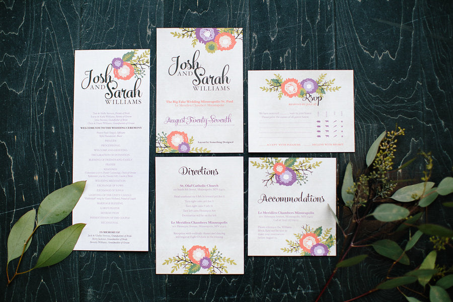 Floral wedding invitations by Something Designed | Floral Graffiti Inspiration at The Big Fake Wedding