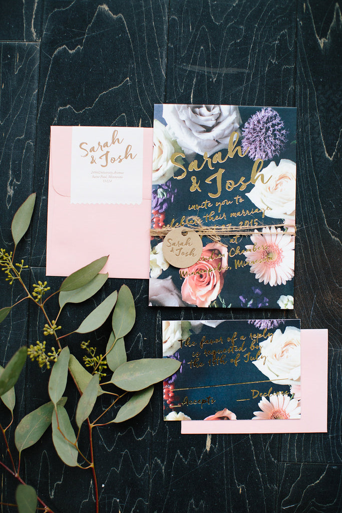 Obsessed with this foil stamped wedding invitation suite | Floral Graffiti Inspiration at The Big Fake Wedding