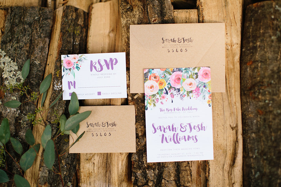 Floral wedding invitations by Hello World Paper Company | Floral Graffiti Inspiration at The Big Fake Wedding