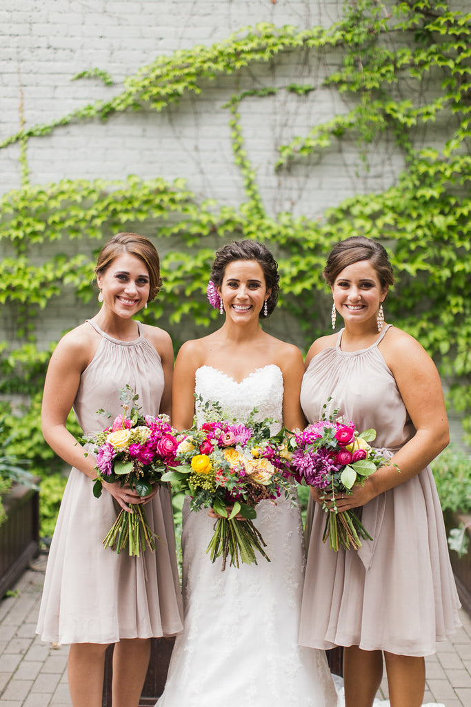 The bridesmaids wore chiffon bridesmaid dresses in latte | Floral Graffiti Inspiration at The Big Fake Wedding