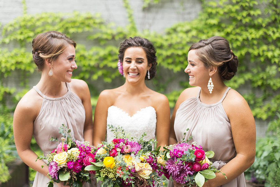 A beautiful summer wedding | The Big Fake Wedding | Kennedy Blue bridesmaid dress style Sienna featured in latte