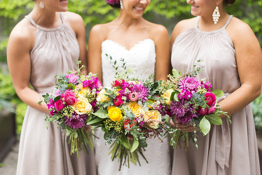 Gorgeous, bright bouquets for the bridal party | Floral Graffiti Inspiration at The Big Fake Wedding