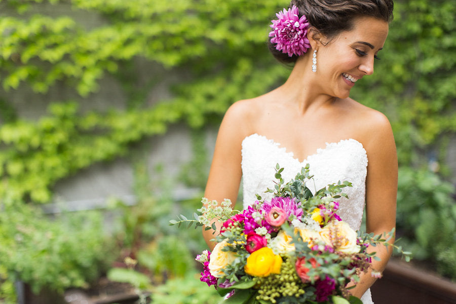 A bright and vibrant bridal bouquet | Floral Graffiti Inspiration at The Big Fake Wedding