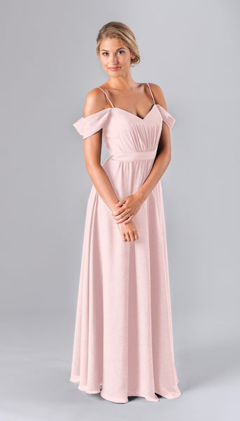 Thea is a beautiful boho bridesmaid dress featured here in blush pink | Kennedy Blue