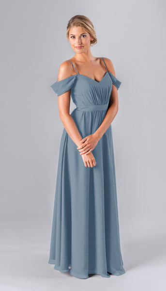Thea is a gorgeous chiffon bridesmaid dress | Kennedy Blue style Thea featured in slate blue