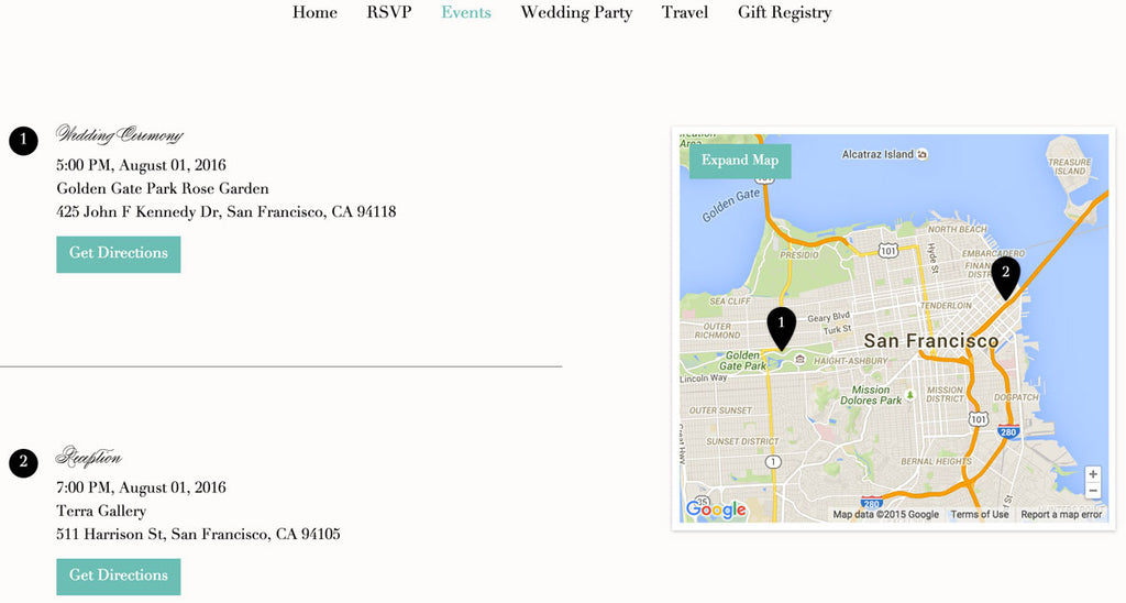 Include directions and times | How to Create the Perfect Wedding Website