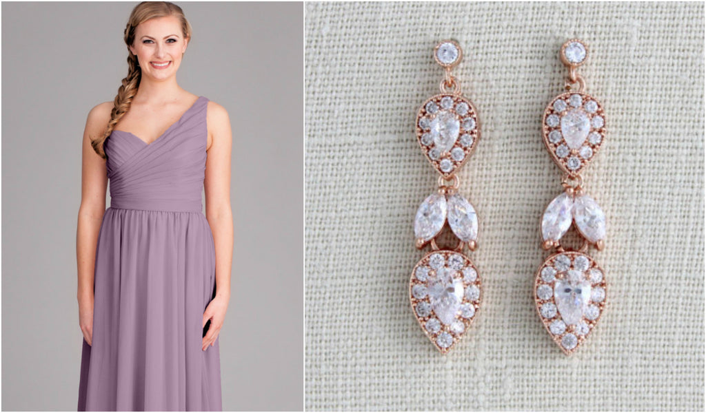 One shoulder dresses are cute and fun to accessorize! We love pairing them with drop earrings | Kennedy Blue style Hannah is featured in lilac