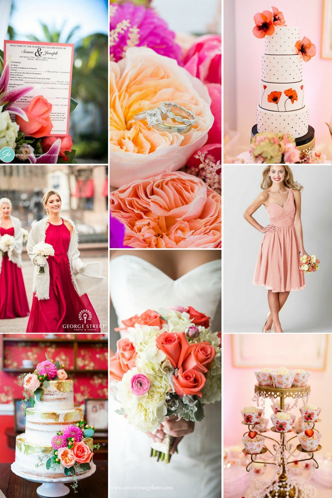 Red Cream Peach Wedding Color Palette