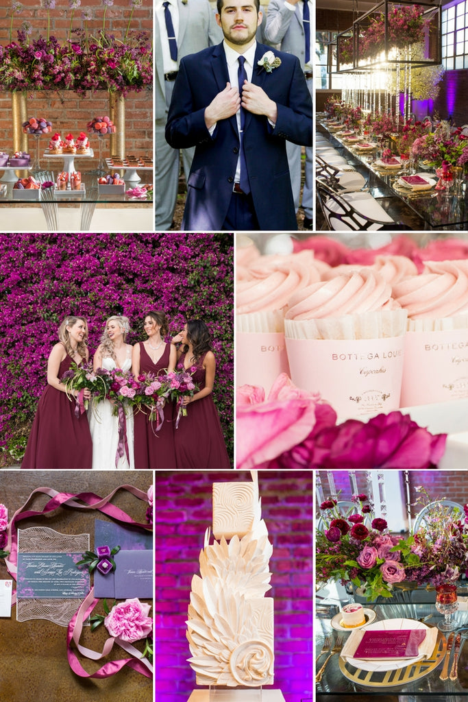 Navy, Burgundy, Pink & Gold Wedding Color Palette! | 2018 Wedding Color Palettes To Inspire Your Big Day | Kennedy Blue